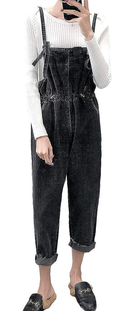AvaCostume Womens Elastic Waist Cropped Denim Bib Overalls