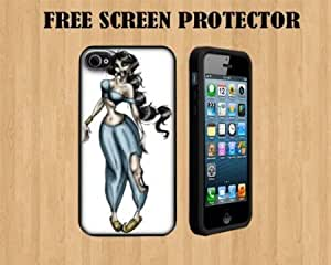 Bloutina jasmine zombie Custom Case FOR Apple iPhone 5 BLACK RUBBER+ FREE SCREEN PROTECTOR ( SHIP FROM CA )