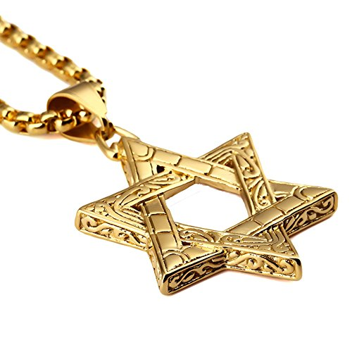 Men's 316L Stainless Steel Religions Hexagram Pendant Necklace Star of David Charm Pendant