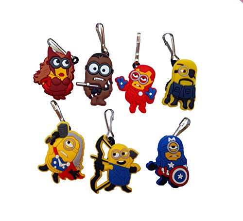 Despicable Me 2 Lucy Costume (AVIRGO 7 pcs Zipper Pull Charms for Jacket Backpack Bag Pendant Set # 124 - 2)