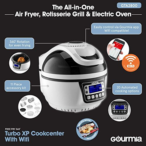 Gourmia Gta2800 Wifi Air Fryer Halogen Powered Rotisserie