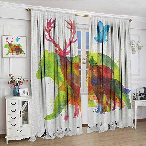 GUUVOR Animal Premium Blackout Curtains Alaska Wild Animals Bears Wolfs Eagles Deers in Abstract Colored Shadow Like Print Kindergarten Noise Reduction Curtains W96 x L108 Inch Multicolor