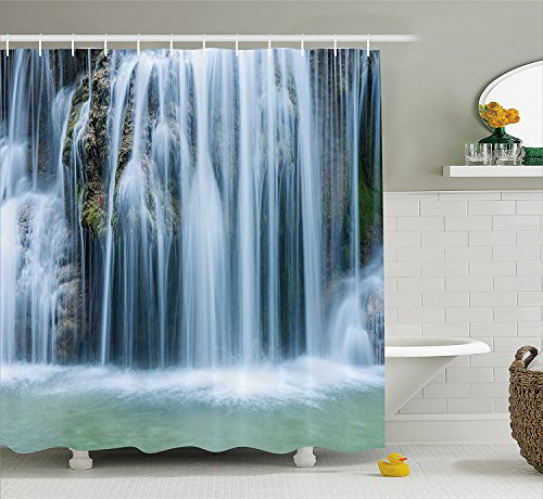 [Waterfall Decor Shower Curtain Massive Magnificent Cascaded Waterfall in Rain Forest with intense Water Image Fabric Bathroom Decor Set with Hooks] (Magnificent Movie Costume)