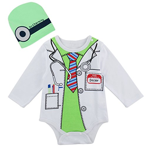12-18 Month Doctor Costume (A&J Design Baby Boys' Doctor Costume Bodysuit with Hat (12-18 Months, White))