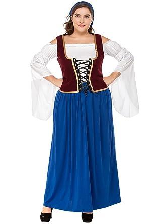 BOZEVON Vestido de Dirndl para Mujeres gordas, Falda de Dirndl, Traje de Oktoberfest, Vestidos de Lujo Bávaros, Ropa de la Cerveza de la Camarera: ...