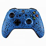 eXtremeRate Textured Blue Faceplate Cover, 3D Splashing Front Housing Shell Case, Comfortable Non-slip Replacement Kit for Xbox One S & Xbox One X Controller For Sale
