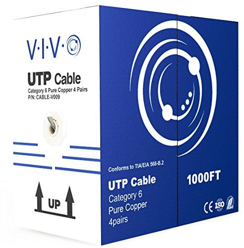 VIVO New Full Copper 1,000 ft bulk Cat6 Ethernet Cable/Wire UTP Pull Box 1,000ft Cat-6 Grey (CABLE-V009) ()