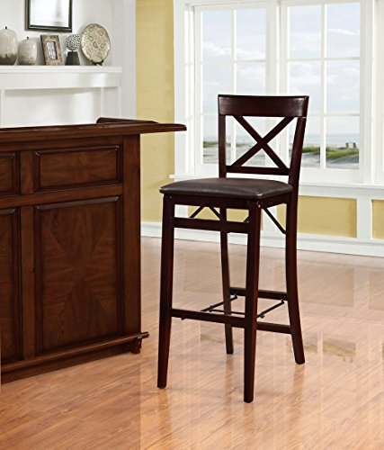 Linon 01851ESP01ASU Triena X Back Folding Bar Stool, Brown