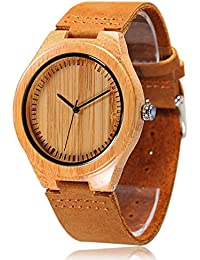 Men's Bamboo Wooden Watch with Brown Cowhide Leather Strap Japanese Quartz Movement Casual Watches