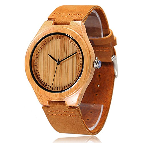 CUCOL Men's Bamboo Wooden Watch with Brown Cowhide Leather Strap