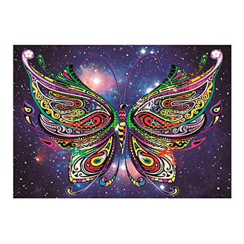 Butterfly Print Partial Drill Round Diamond Painting, Plane Wall Sticker Embroidery Cross Stitch Arts Craft Painting for Home Decor(A)