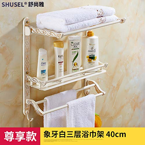 Hlluya Bathroom Accessory Set Paint Folding Towel Rack Gold and White Built-in Shelf Toilet Retro Bath Towel Rack with Double Double bar, 3-40 cm Prestige
