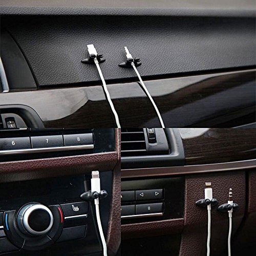 Daphot Store - Car Wire Cable Holder Tie Clip Organizer Adhesive Car Charger Line Clasp Clamp USB Cable Holder Car Clip Accessories 8Pcs/Lot