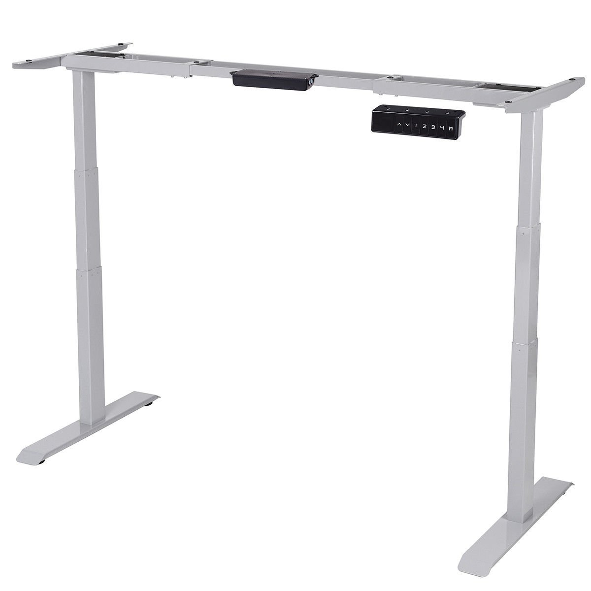 Gray Dual Motor Electric Adjustable Height Standing Desk Frame Steel Sit to Stand w/Memory Control with Ebook