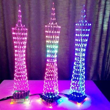 Arduino Compatible SCM & DIY Kits Arduino Compatible Kits & DIY Kits - Geekcreit® LED Cube Canton Tower Suite Wireless Remote Control Electronic Kit - Colorful - 1 x DIY L