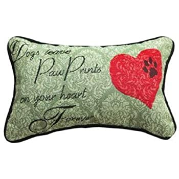 Manual 12.5 x 8.5-Inch Decorative Throw Pillow, Dogs Leave Paw Prints Pillow