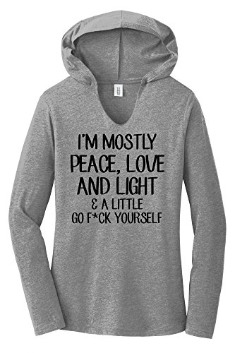 Peace Long Sleeve V-neck (Comical Shirt Ladies Mostly Peace Love & Light Little Go Fuck Grey Frost XL)