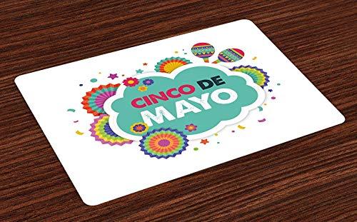Festive Maraca - Cinco de Mayo Doormats Welcome Entrance Mat Non-Slip Backing, Mexican Fiesta Themed Typographic Image with Festive Ornaments and Maracas, Indoor Bath Mat Shoes Scraper Floor Mat, 20'' x 31.5''