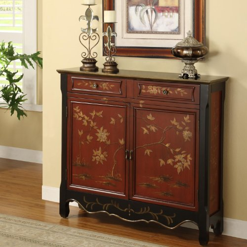 Powell Red Oriental 2 Door Console