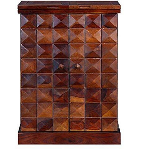 Jiya Creation Colonial Style Daimond Bar Cabinet (Teak Wood Finish)