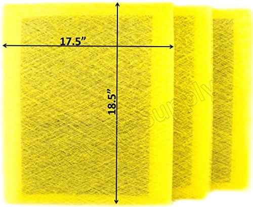 (RAYAIR SUPPLY 20x20 MicroPower Guard Air Cleaner Replacement Filter Pads (3 Pack) Yellow)
