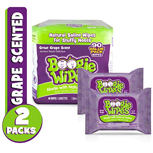 (Boogie Wipes, Wet Wipes for Baby and Kids, Nose, Face, Hand and Body, Soft and Sensitive Tissue Made with Natural Saline, Aloe, Chamomile and Vitamin E, Grape Scent, 45 Count (Pack of 2))