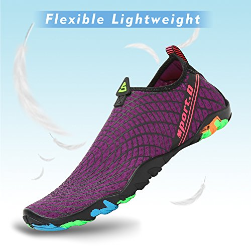 Water Shoes Mens Womens Quick Dry Aerobics Sports Aqua Shoes Beach Swim Shoes with Non-Slip Rubber Sole for Swimming Pool,Snorkeling,Boating,Surf,Yoga Purecolor-purple