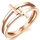 Womens Elegant 18K Rose Gold Stainless Steel Double Cross Ring Christian Fashion Wedding Engagement Band Size 7