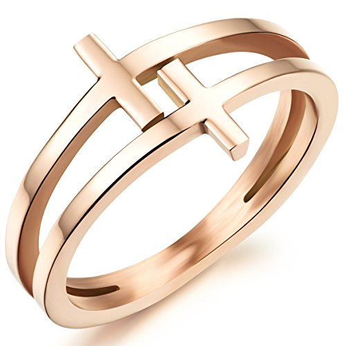 Womens Elegant 18K Rose Gold Stainless Steel Double Cross Ring Christian Fashion Wedding Engagement Band Size 6 (Band Ring Cross)