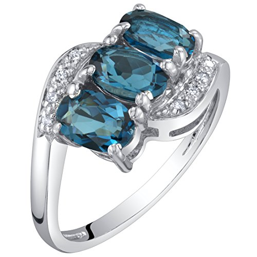 14K White Gold Genuine London Blue Topaz and Diamond Three Stone Anniversary Ring 1.50 Carats Oval Shape Size - Ring Cluster Platinum Diamond