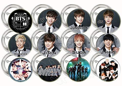 - BTS K-pop Bangtan Boys Buttons Party Favors Supplies Decorations Collectible Metal Pinback Buttons Pins, Large 2.25