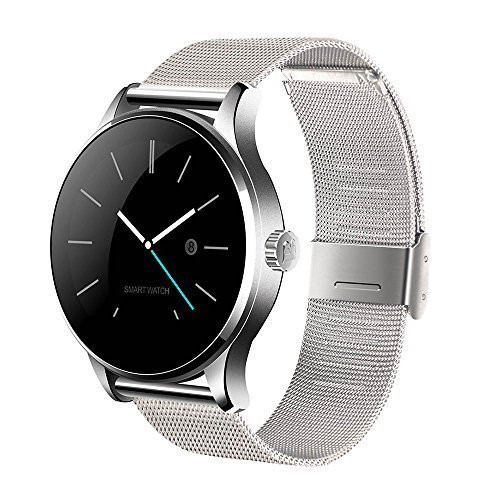 Keoker K88H Bluetooth Smart Watch with Heart Rate Monitor Round IPS Screen Smartwatch Wristwatch for iOS and Android (Sliver + Stainless Steel Band)
