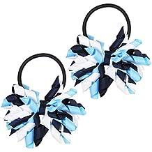 Hair Ties, HipGirl Boutique Elastic Hair Ties for Girls/ Women, Korker Ribbon, Ponytail Holder, Hair Bows, Cheer Bows (1 Pair Navy Korker Pony Holder for School Uniform)