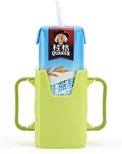 ACHICOO Bottle Cup Holder Adjustable Safety Toddler Kid Juice Milk Box Drinking Bottle Cup Holder Lake Blue 1pc