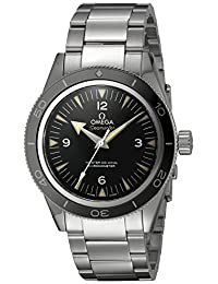 Omega 23330412101001 Men's Wrist Watches, Black Dial, Silver Band
