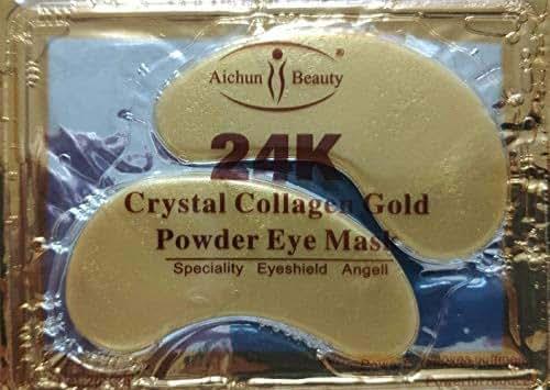 NYKKOLA Anti Aging Crystal 24K Gold Powder Gel Collagen Eye Masks Sheet Patch (10 Pairs)