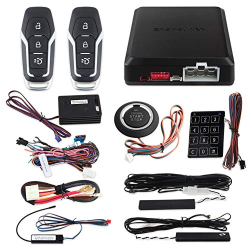 EASYGUARD EC002-FO2-NS Smart Key Passive keyless Entry Kits with Push Start Button Remote Start Password keypad Entry DC12V ()