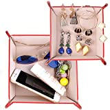 Happy David Valet Tray Coin Jewelry Key Storage Catchall Set of 2 Large and Small(001red)