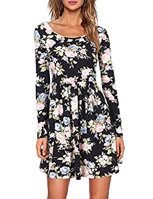 MOOSUNGEEK Women's Long Sleeve Floral Print Pleated Swing Dress(Runs Large)