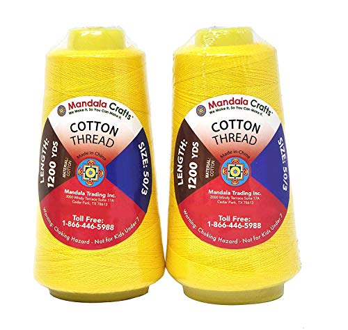 - Mandala Crafts Quilting Cotton Thread Cone for Machine and Hand Sewing, 100 Percent Natural Mercerized, 50 wt (2 Rolls 2400 Yards, Yellow)