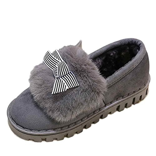 Botas Mujer,Ouneed ® Moda mujer raquetas de nieve de algodón mantienen cálidas botas de invierno Gris