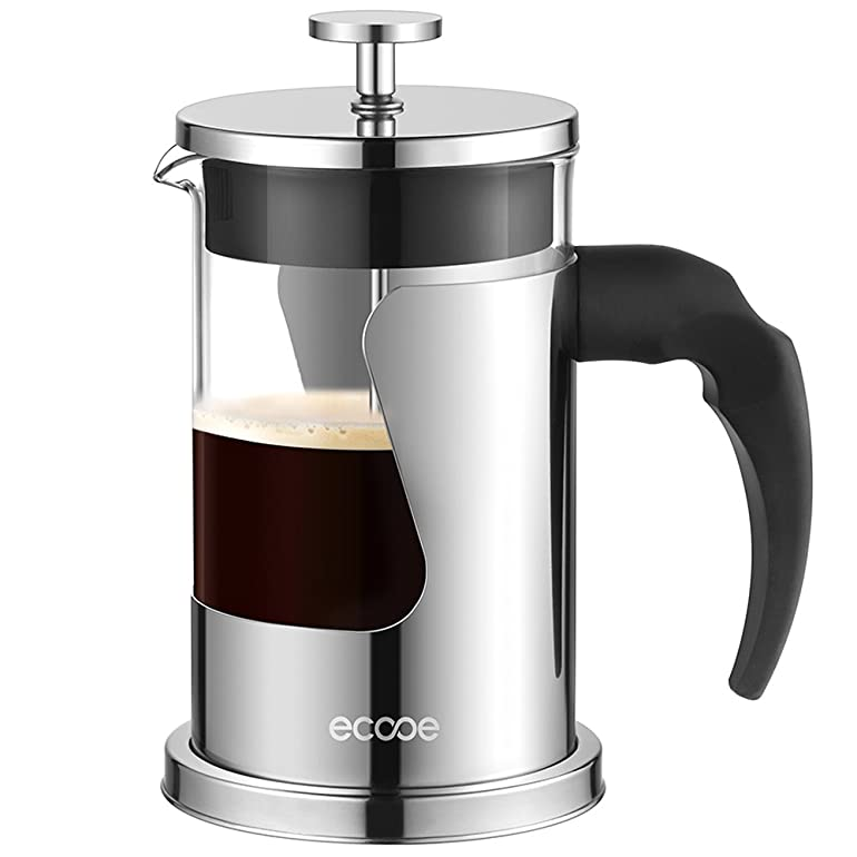 Ecooe Coffee Maker 600 ml Stainless Steel Cafetiere Glass French ...