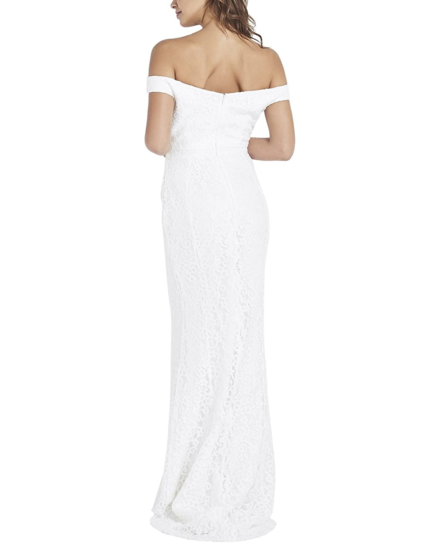 LIPSY Womens Bridal Lace Bardot Maxi Dress at Amazon Womens Clothing store: