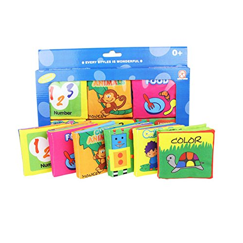 [Baby's First Non-Toxic Fabric Book Soft Cloth Book Set- Squeak, Rattle, Crinkle,Colorful- Pack of 6] (Cloth Rattle)