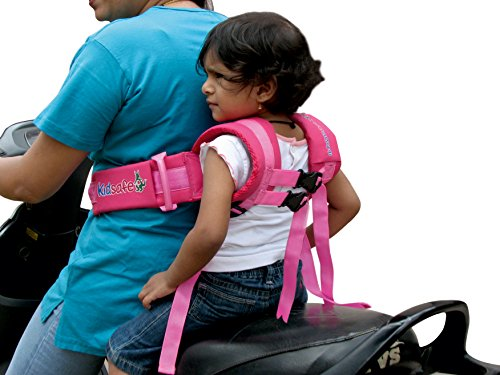 Kidsafe Children Motorcycle Safety Belt for Two Wheeler with Adjustable Straps Or Kid Harness Or Child Gear (Pink) ()