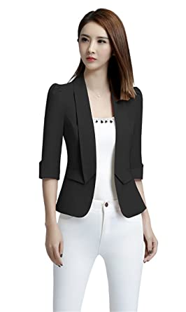 My Wonderful World Women s Slim Fit 3 4 Sleeves OL Blazer Suit Collar  Office Blazer a5432c6e8