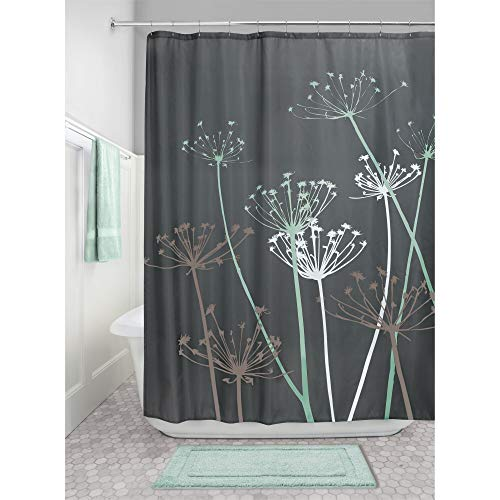 iDesign Thistle Fabric Shower Curtain Water-Repellent and Mold- and Mildew-Resistant for Master, Guest, Kids', College Dorm Bathroom, 72