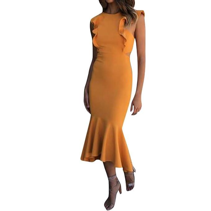 Soupliebe de Vestir Mujer Borde de la Hoja de Loto Falda sin Mangas Vestido Body Shaping Backless Vestidos Faldas Cena: Amazon.es: Ropa y accesorios
