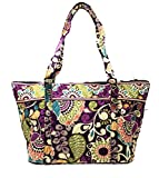 Vera Bradley Miller Bag in Plum Crazy with Solid Plum Interior