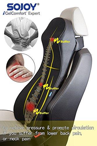 Sojoy Patented Universal Ergonomic Streamlining Car Seat/Cushion Lumbar and Neck Support (Classic Black) (25x16x5)
